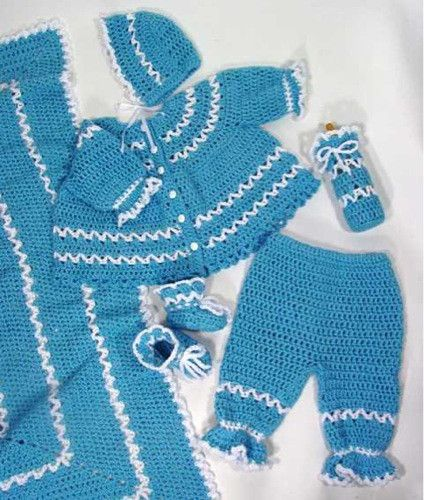 "Watch Maggie review this beautiful Blueberry Baby Layette! An Original Design By: Maggie Weldon Easy Skill Sizes: Afghan- 42"" Square Sweater, Bonnet and Booties to fit: Small (6-9 mos), Medium (10-16"