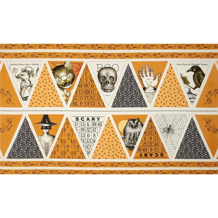 Sew Scary 24 In. Bunting Halloween Panel Orange from @fabricdotcom  Designed by J. Wecker Frisch for Quilting Treasures