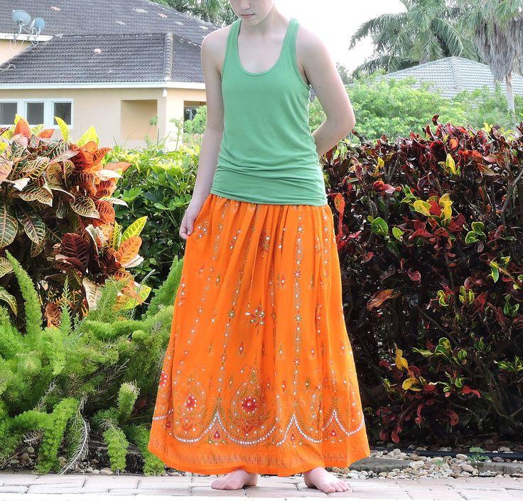 Gypsy Skirt: Orange Maxi Skirt, Long Sequin Skirt, Bohemian Indian Skirt, Boho Festival Clothing, Floral Peasant Skirt, Hippie Skirt by DelhiDaze on Etsy