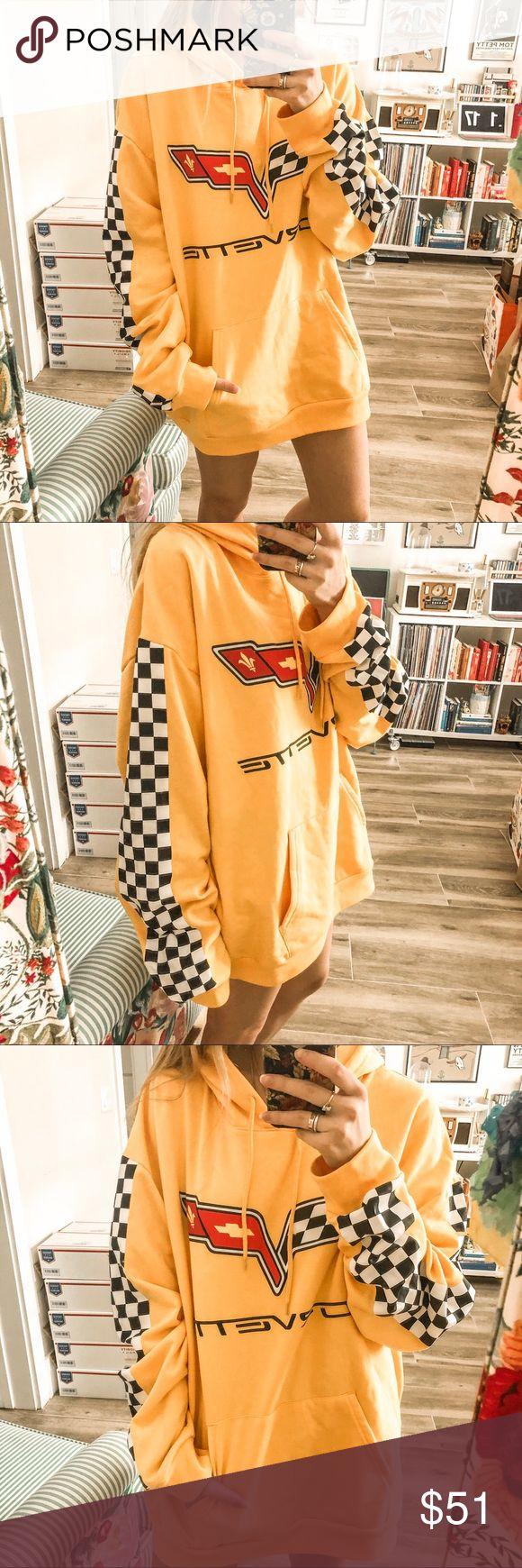 YELLOW CORVETTE CHECKERED RACING HOODIE Bright golden yellow Corvette logo overs...