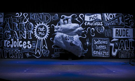 We could build several tall panels, for easy breakdown/storage - they could either fit all together, as shown here, or be dispersed over the stage. We could draw a Christmas scene or do some really cool typography, using a verse. Also, we can sparingly use some colored chalks.
