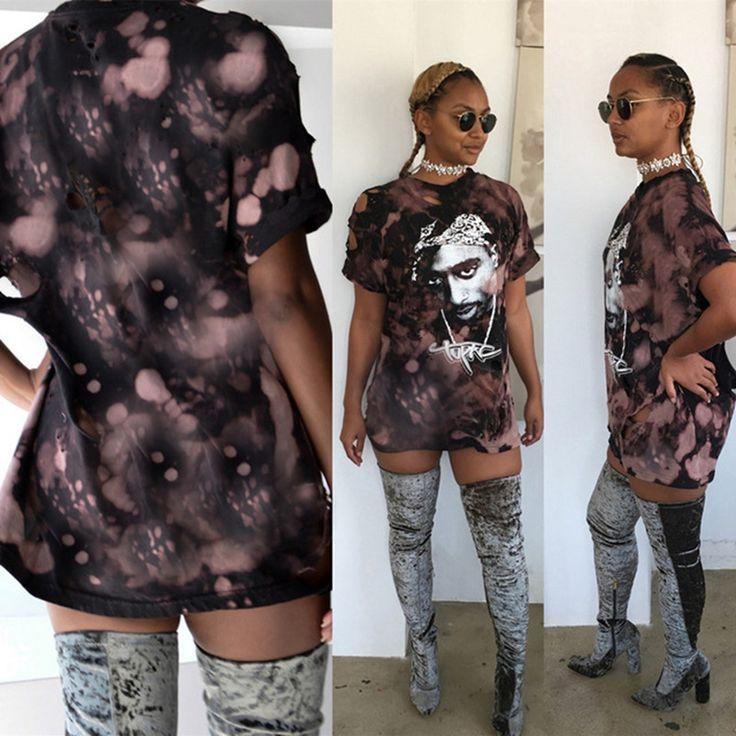 hot new t shirt women 2pac print shirt dress 2016 sexy