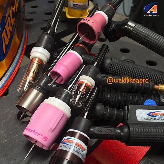 TIG welding eye candy by @weldlikeapro  Did a cover photo shoot this morning for an upcoming trade mag feature story about TIG torches by @thejoewelder - Just a partial sampling of the gas cup arsenal available from @arc_zone - Based on your application they can help you Weld Like A Pro - Enjoy  #WeldLikeAPro #TIGWelding #MonsterNozzle #ArcZone
