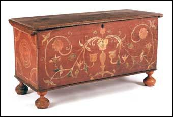 Connecticut William and Marry red painted blanket chest, 24.5 H x 46.5 W. x 18 D.