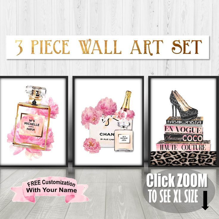 Fashion Wall Art, Fashion Art Set, Chanel Art Set, Blush Wall Art, 3 Piece Wall Art, Pink and Gold, Watercolor, Fashion Books, Chanel Bag by BestPrintableArt on Etsy