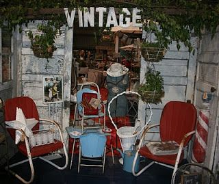 """iold metal patio chairs used in a booth at Funky Junk Sisters Vintage Market Junk Salvation"""" by Funky Junk Sisters"""