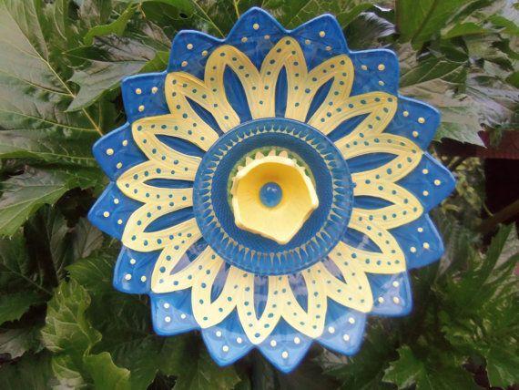 Garden Art - Glass Plate - Hand Painted in True Blue & Lemon Yellow - Garden Decor - Sun catcher - Garden Sculpture - Yard Art. $50.00, via Etsy.