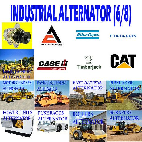 INDUSTRIAL ALTERNATOR (6/8) MAINTAINERS, MOTOR GRADERS, PAVING EQUIPMENT, PAYLOADERS, PIPELAYERS, POWER UNITS, PAYLODERS, PUSHBACKS, ROLLERS, SCRAPERS ALTERNATOR
