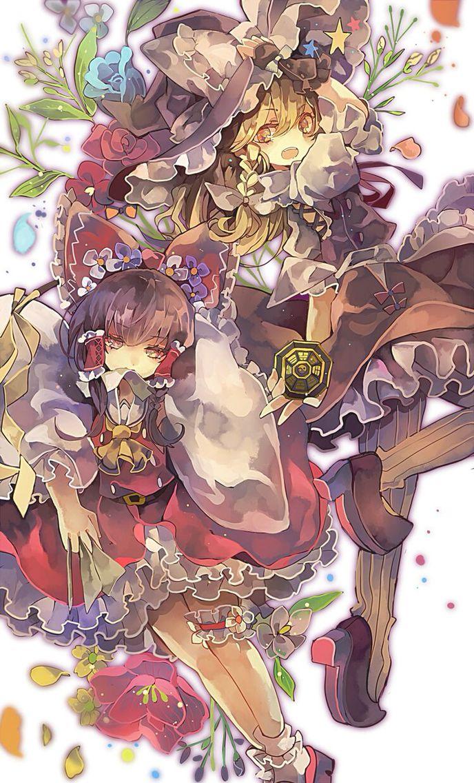 Hakurei Reimu and Kirisame Marisa~Touhou by Cha Goma