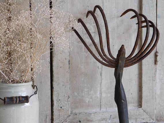 Antique Rusty Garden Tool Cultivator, Farm Hoe Tool by TreasuredPrimitives on Etsy https://www.etsy.com/listing/530010279/antique-rusty-garden-tool-cultivator