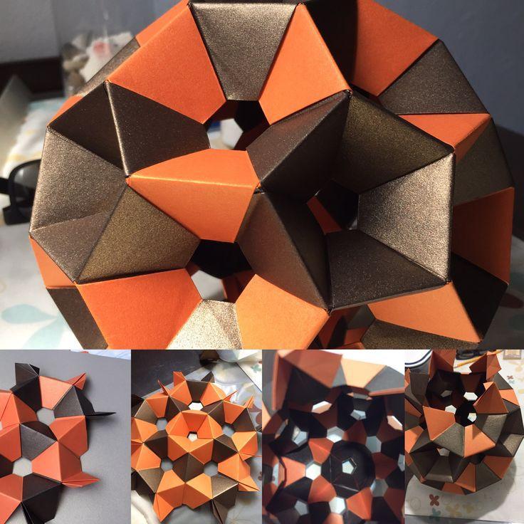 Truncated Icosahedron  Paper majestic 120 gr  90 unit 12x6 cm  30 orange 60 brown
