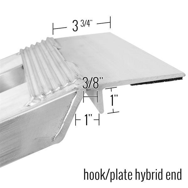 Hybrid/hook plate end dimensions