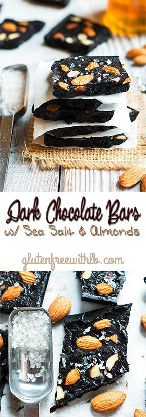 Dark Chocolate Bars w/ Sea Salt & Almonds   A refined sugar free and gluten free chocolate bar that takes only 5 minutes to make!