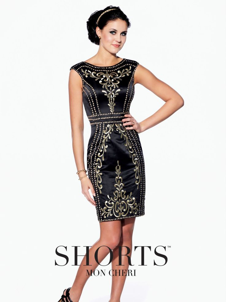 Shorts - TS21571 - Cap sleeve homecoming dress, embroidered satin, slim fitting dress with bateau neckline and cap sleeve. Click to view more homecoming dresses.Sizes: 0-16Colors: Black/Gold, Royal Blue/Silver