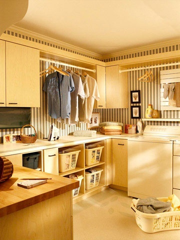 Preppy laundry room to make you feel like a Stepford wife while you're doing laundry.  Just don some high heels and pretend you actually like doing laundry.