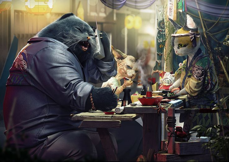 Moments on the Cat Planet, created by cristata using 3Dsmax, Zbrush and VRay.