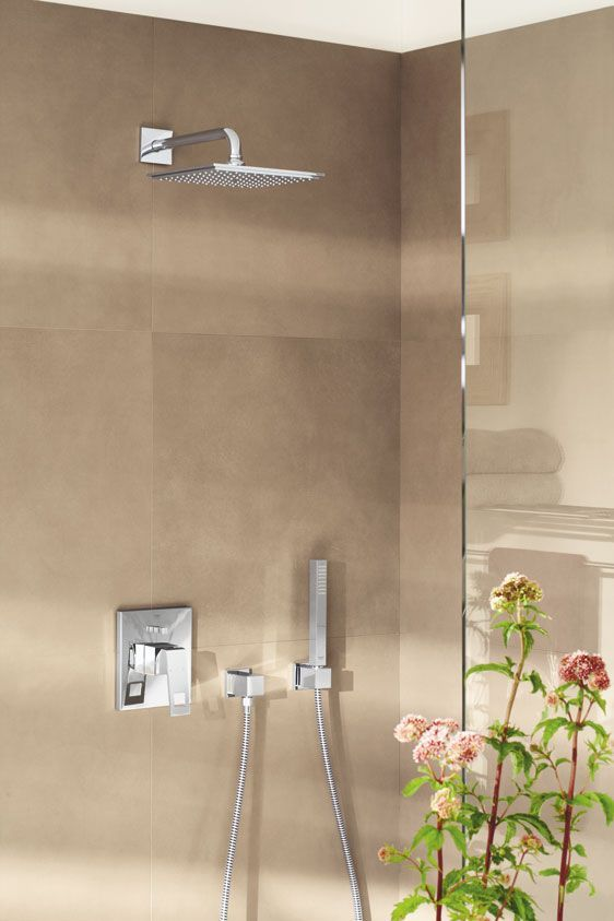 GROHE Eurocube Shower System. #bathroom #shower #system See more at http://www.grohe.com/us/5924/bathroom/bathroom-faucets/eurocube/