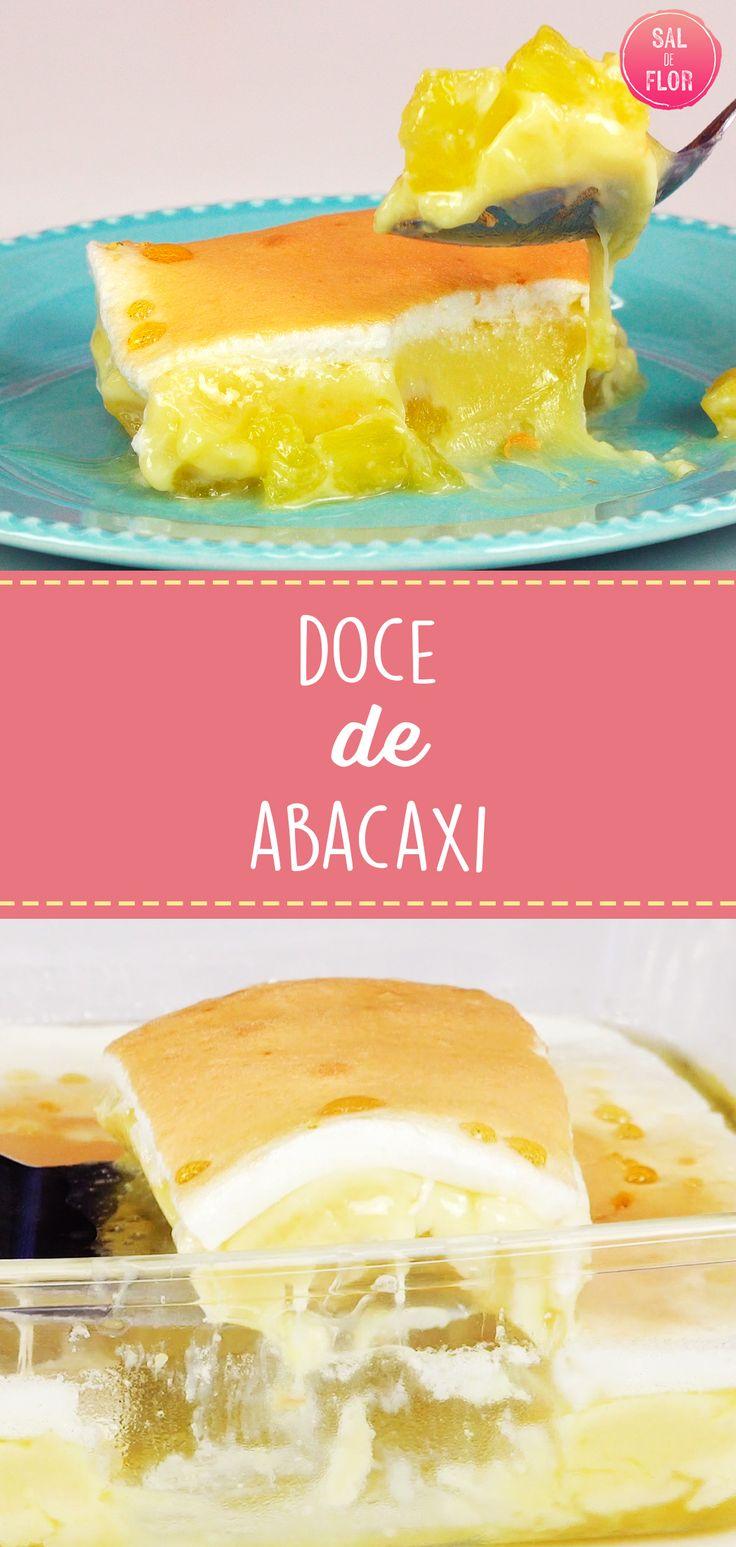 Sobremesa de abacaxi com creme de leite condensado e suspiro   – SdF – Receitas com aves