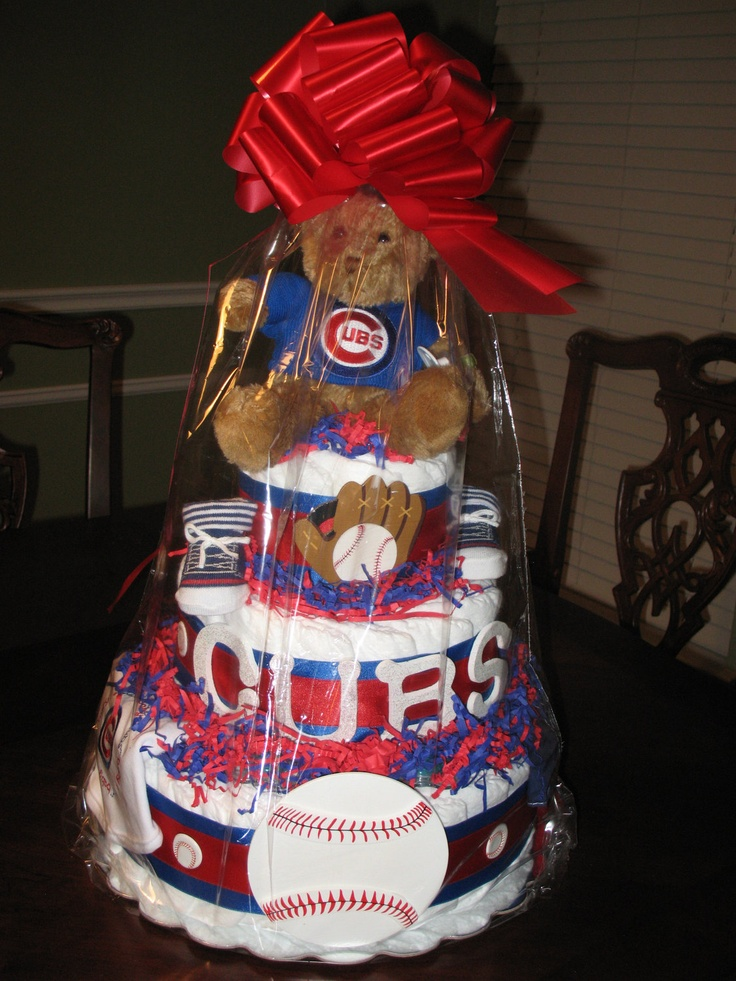 Chicago Cubs Baseball Diaper Cake by LilybugCakesnDesigns on Etsy, $115.00