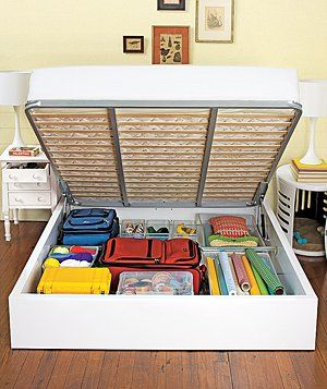 This would be ideal for storage, we all put things under the bed but this way we don;t get all the dust and can easily see without putting your hand under there and being afraid you pull out a spider LOL!