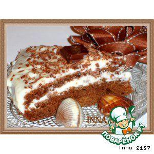 Шоколадно-тыквенный торт с вишней