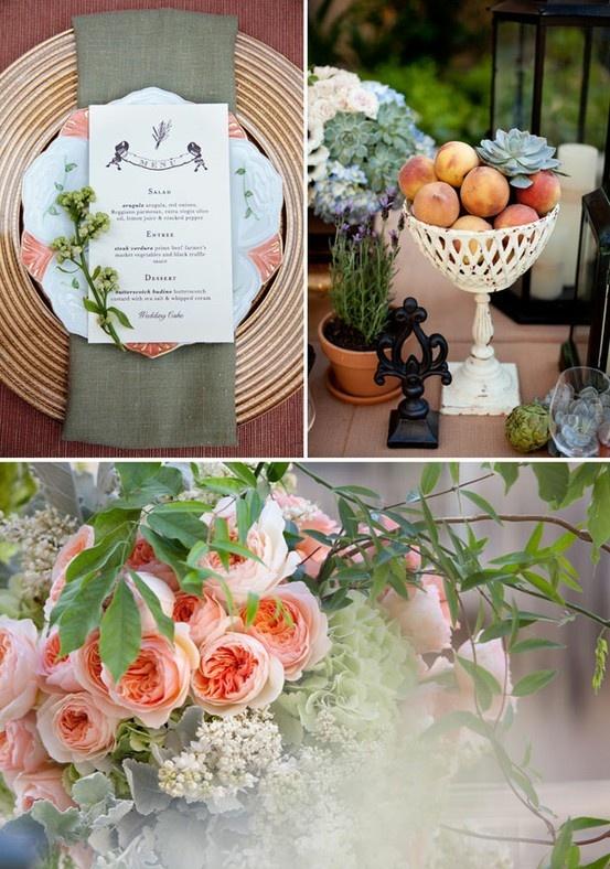 Peach tablescape