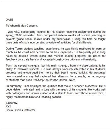 18 best Letters of rec images on Pinterest Letter templates - letter of recommendation for a student