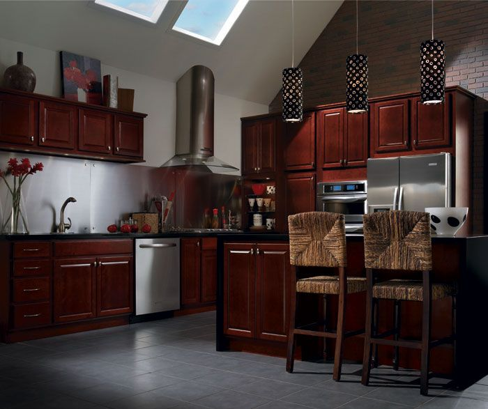 Homecrest cabinets contemporary design cabinetry carried for Burgundy kitchen cabinets pictures
