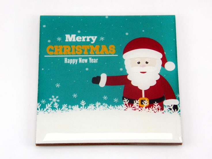 Merry Christmas Happy New Year Santa Claus Drink Coaster Unique Gift Wood Osarix