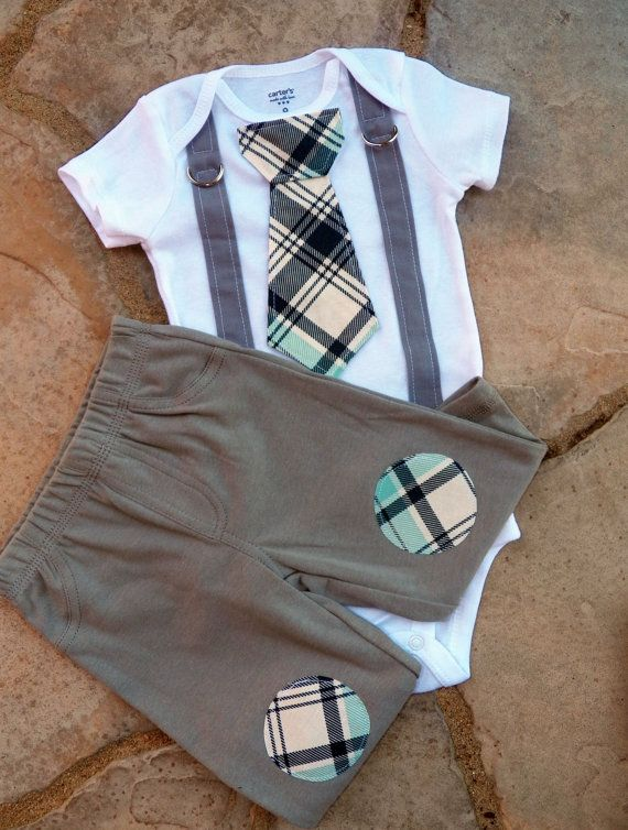 Baby Boy Tie onesie with Suspenders and Knee by shopantsypants, $36.00