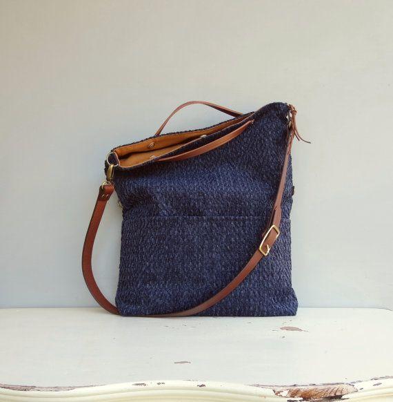 Modern Tote Bag - Navy Cross Body Bag - Plus Size Messenger Bag - Dark Blue Purse - Navy Blue Tote - Leather Strap 8