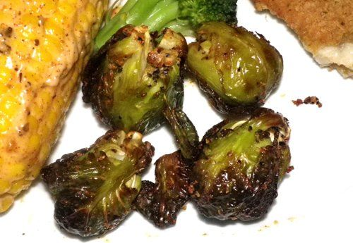 Actifry roasts these sprouts to a perfect, dark looking, outside but cooked perfectly inside. Healthy and so easy. If you like add 3 tablespoons of chili sauce for the last 5 minutes of cooking.