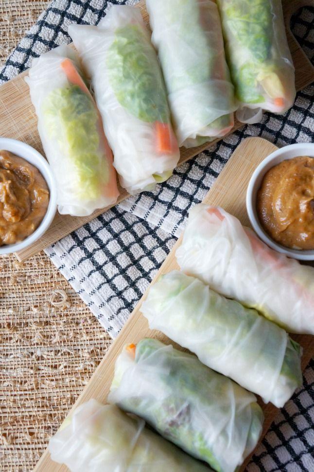 Fresh Veggie Rolls and Peanut Ginger Sauce | tomatoboots.co | #partysnack #vegetarian #peanutsauce