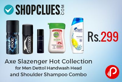 Shopclues #DealoftheDay is offering #Axe + #Slazenger + Hot Collection for Men + #Dettol #Handwash (100ml) + Head and Shoulder #Shampoo (80ml) is just Rs.299. Shopclues Coupon Code – SCEDM19JUL1  http://www.paisebachaoindia.com/hot-collection-for-men/
