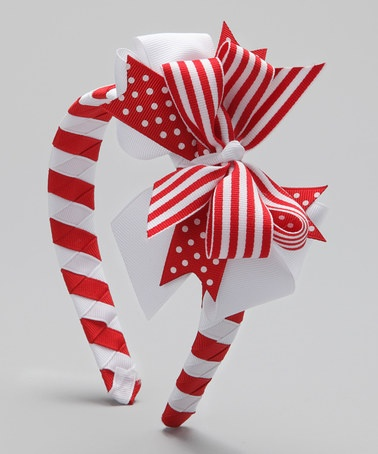 Take a look at this Red & White Stripe Bow Headband by Waistin' Away on #zulily today!