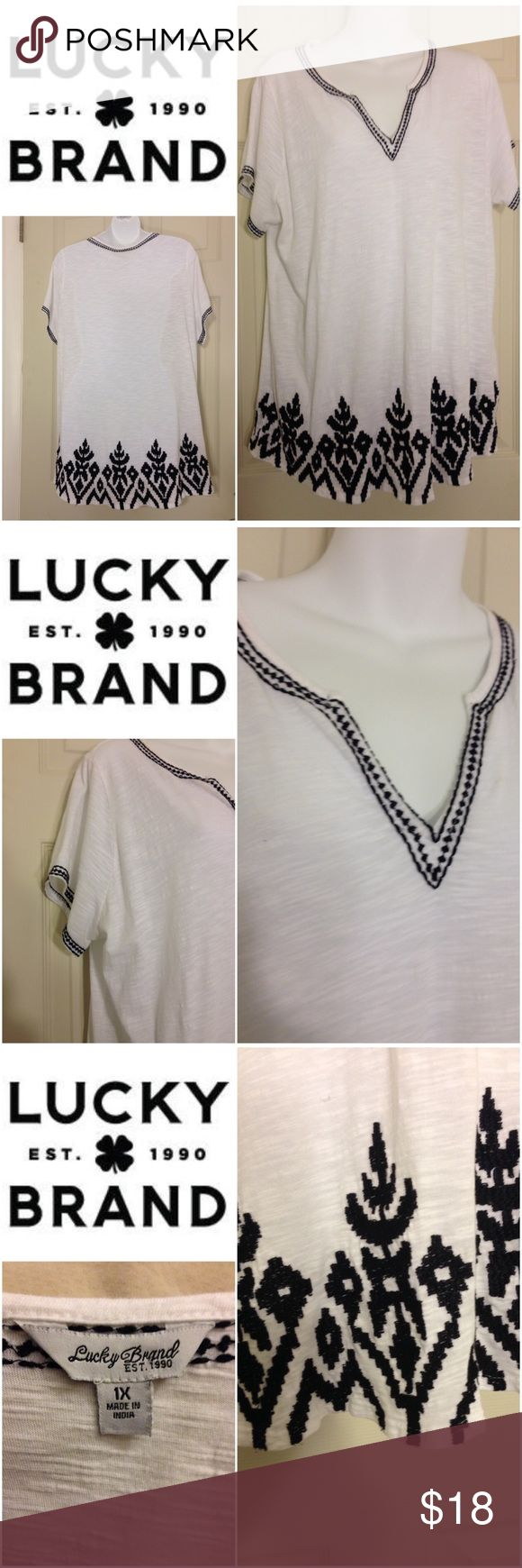 🌴NEW  LISTING🌴 Lucky 🍀 Brand Shirt White and black. Embroidery. 100% cotton. Size 1X. (2/4) Lucky Brand Tops