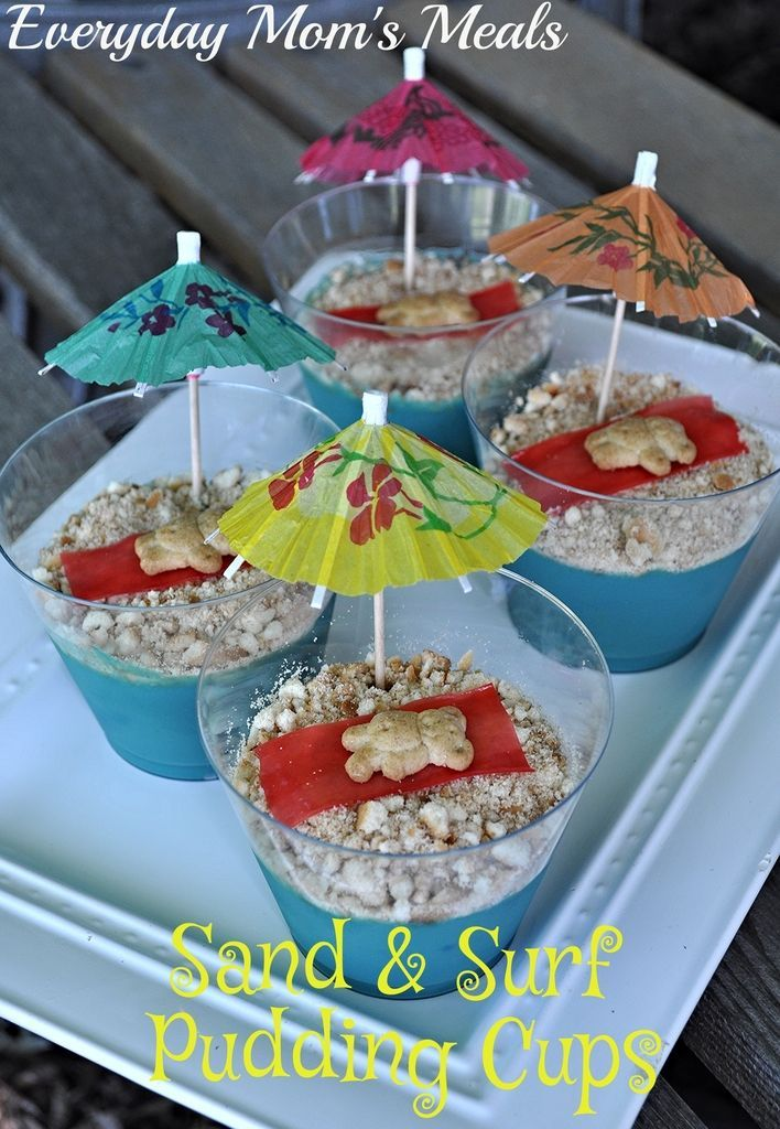 ~Sand & Surf Pudding Cups~ A summer sweet treat as adorable as it is yummy. Perfect for your next pool or kids' birthday party!