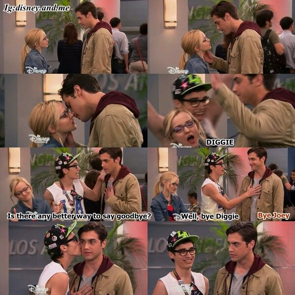 Disney Channel Liv and Maddie. Maddie Rooney, Diggie and Joey Rooney. Best way to say goodbye. Awkward moment.