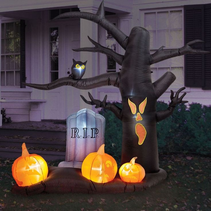 Inflatable Spooky 8' Halloween Tree Grave Yard Tombstone