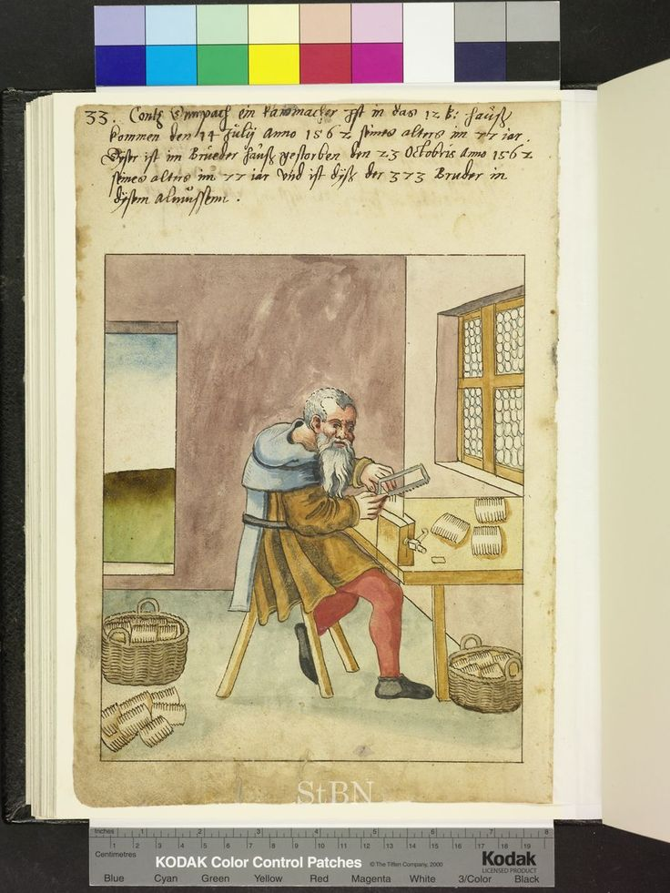 Fab pente. 1563. comb maker with basket Die Hausbücher der Nürnberger Zwölfbrüderstiftungen