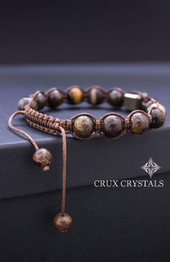 CUBIC Men's Beaded Bracelet, Men's Shamballa Bracelet, Natural Stone, Brown Macrame, Gift for Him, Bronzite Bracelet, Pyrite Bracelet – Schmuck