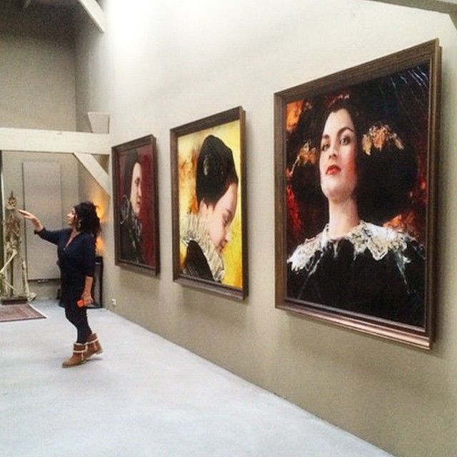 """Lita Cabellut at work in her studio in The Hague ahead of the exhibition """"The Black Tulip"""""""