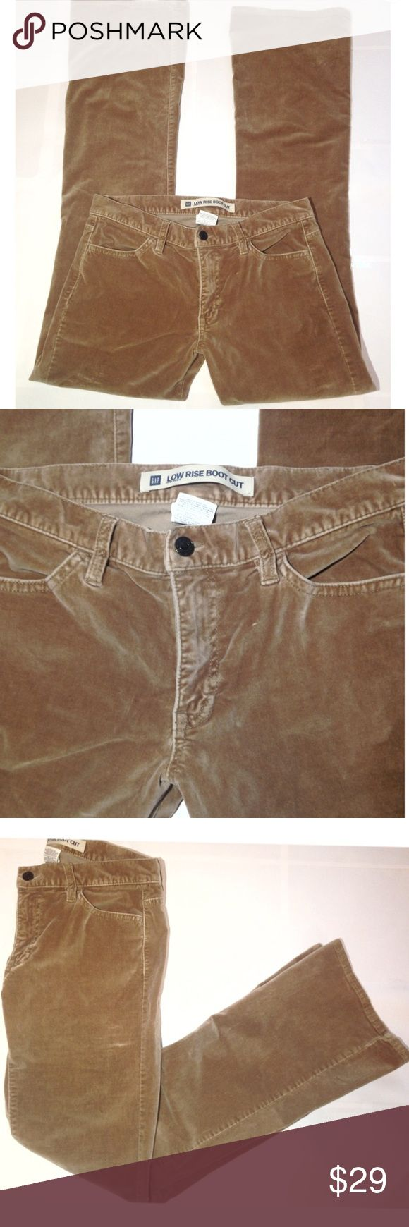 Gap velvet tan Pants size 4 SIZE 4 R Velvet feel tan Gap pants low cut boot cut jeans. Belt loop, back pockets and front pockets. Excellent pants! Great for casual formal wear parties dinners work after work weddings spring summer fall winter excellent condition GAP Pants Boot Cut & Flare