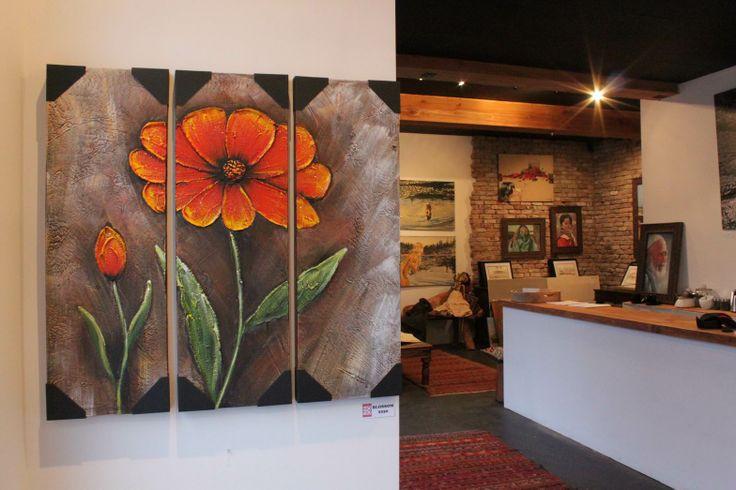 Orange Flower Blossom Impasto Painting, Heavy Textured Canvas by Palette Knife, Modern Gallery Wrap Wall Art Deco by Studio Mojo Artwork.  http://www.studiomojoartwork.com/pages/testimonials