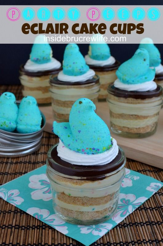 Party Peeps Eclair Cake Cups - cake batter pudding layered with graham crackers and chocolate frosting #CoolWhip #Peeps