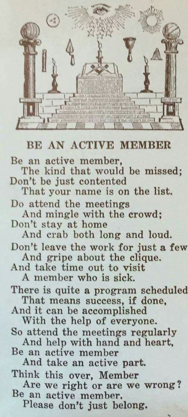 My goal moving forward is to work to be an active member.