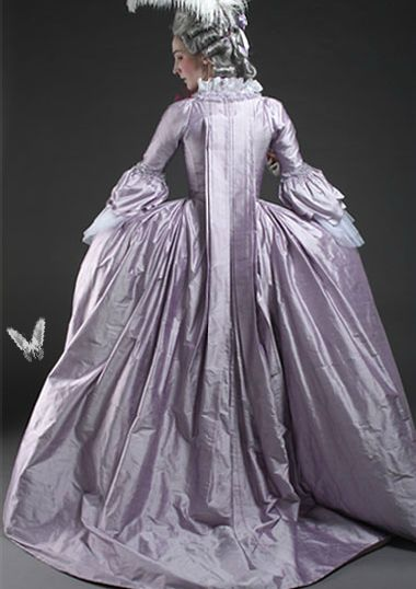 18th century lavendar silk dress from chenilles et papillons  (and this would be in my wardrobe).
