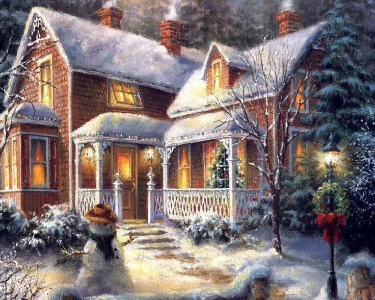 Ich bin mir nicht sicher über den Künstler. Es erinnert mich allerdings an Kinkade!   – Christmas Chilly-strations