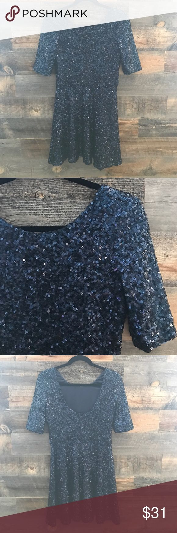 French Connection Blue Sequin Dress Fit and flare style sequined dress, very flattering. Great condition. French Connection Dresses Mini