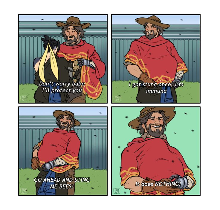 """miusart:  """"Hello I'm a fellow McHanzo trash (I love them so much) and I say hi to the fandom with this silly thing requested by a friend.  You cannot say Parks & Rec + McHanzo and expect me not to draw it.  Based on this:  """""""